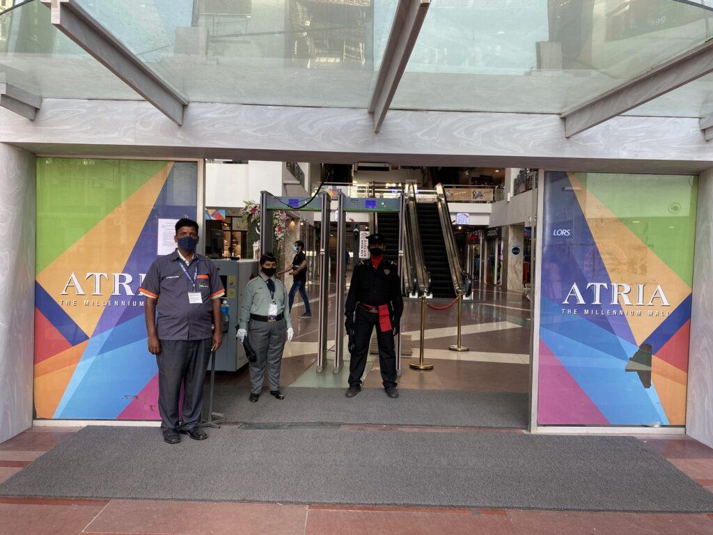 BMC personnel and security at Atria Mall, Mumbai