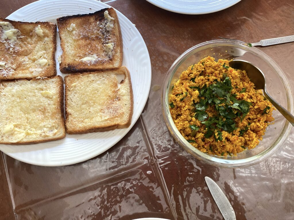 A tasty breakfast of bhurji and toast