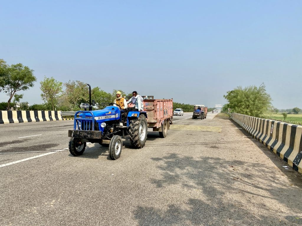 Tractors on the Yamuna Expressway
