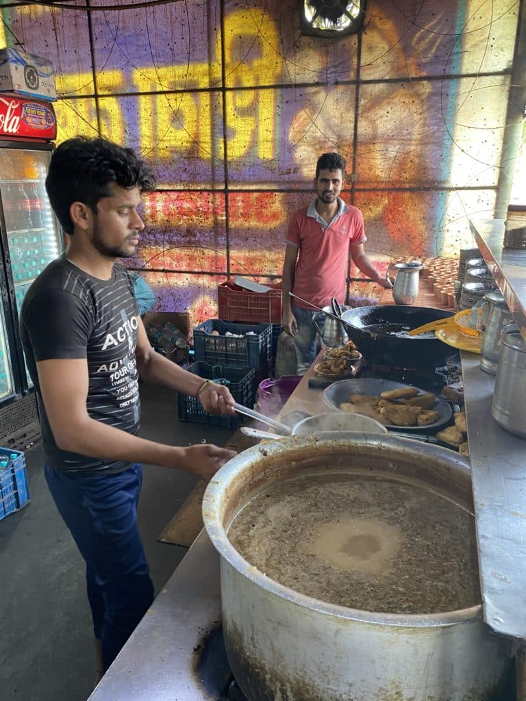 Chai being prepared at a highway side Dhaba (restaurant)
