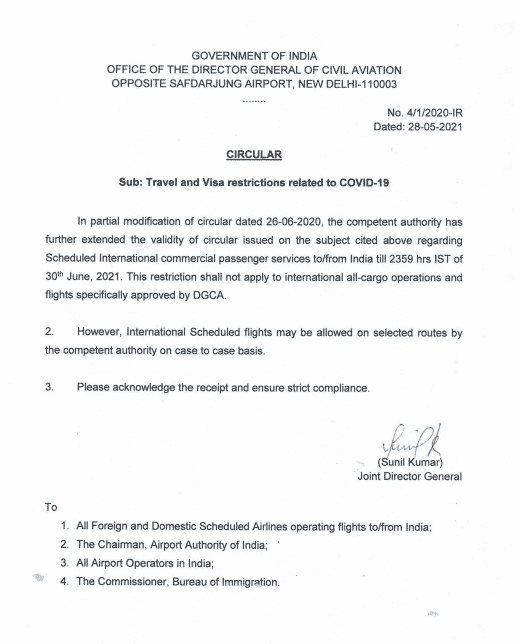 Govt of India, Office of DGCA, Circular regarding travel and visa restrictions related to COVID-19